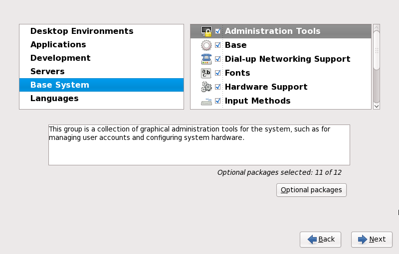 Fedora 17 package selection screen