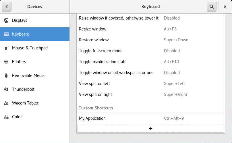 Managing keyboard shortcuts for running an application in